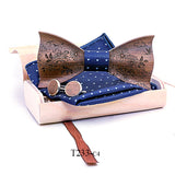 1- 3D Engraving Wooden Bow Ties for Men ties Wood Bowtie Handmade Butterfly Wood Bow Tie Gravata gift Cufflink handkerchief Set box
