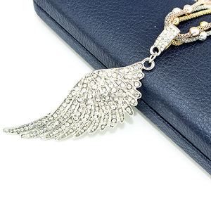 Sterling Silver Necklace Angel Wing+Crystal Butterfly+Diamond Heart