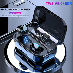 TWS 5.0 Bluetooth 9D Stereo Wireless Earphones IPX6 Waterproof