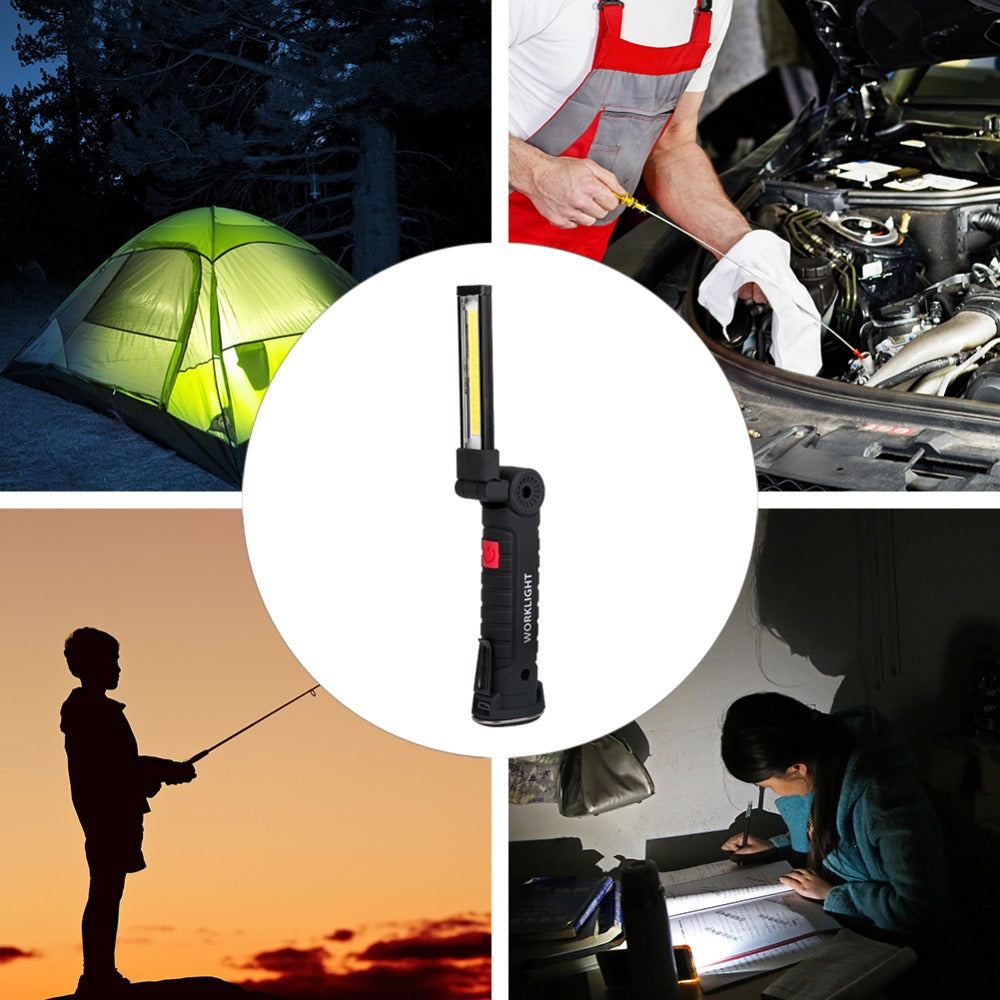 5 Mode COB Flashlight USB Rechargeable Magnetic Hanging Hook