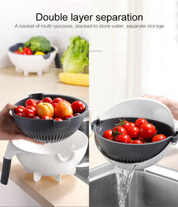 9 in 1 Multifunctional Rotate Vegetable Cutter With Drain Basket