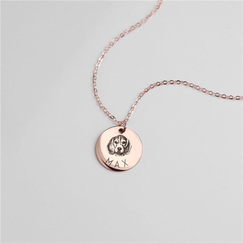Custom Pet Portrait Personalized Necklace