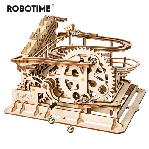 4 Kinds Marble Run Game DIY Waterwheel Wooden Model