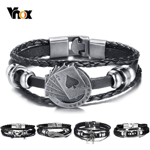 Playing Cards Lucky Vintage Men's Leather Bracelet