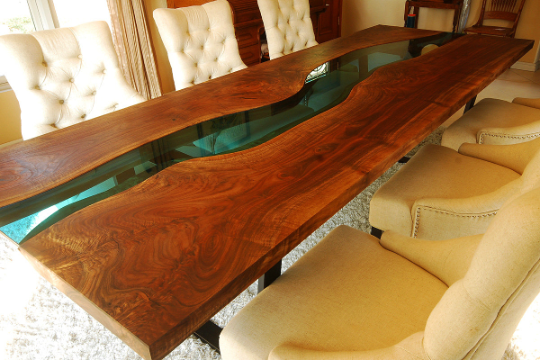 Dining Table - Glass inlay