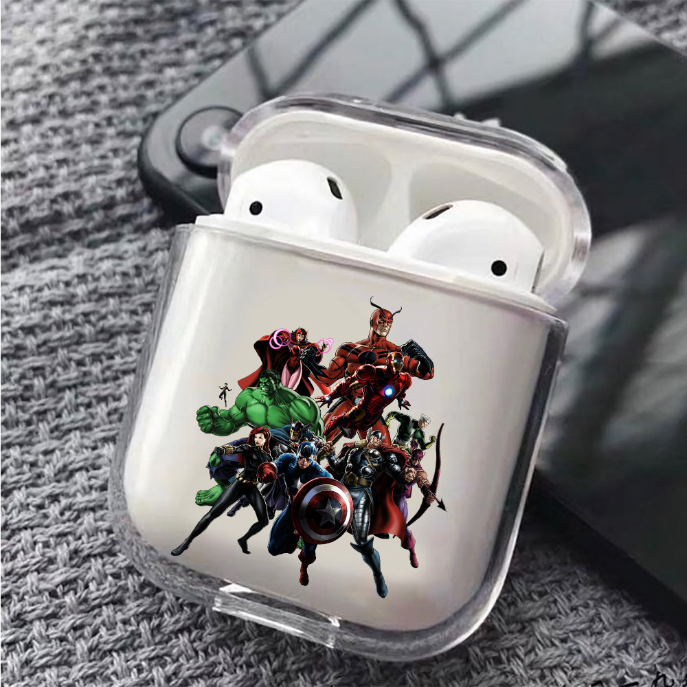 Avengers Character Cartoon Protective Clear Case Cover For Apple Airpods