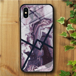 Ceramics Navy Strip iPhone X Tempered Glass Case