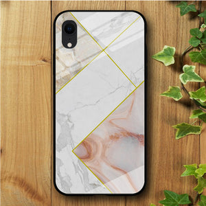Ceramics Strip White iPhone XR Tempered Glass Case
