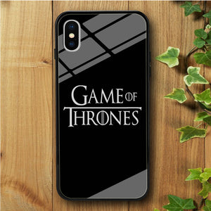 Game of Thrones Simple Black iPhone X Tempered Glass Case