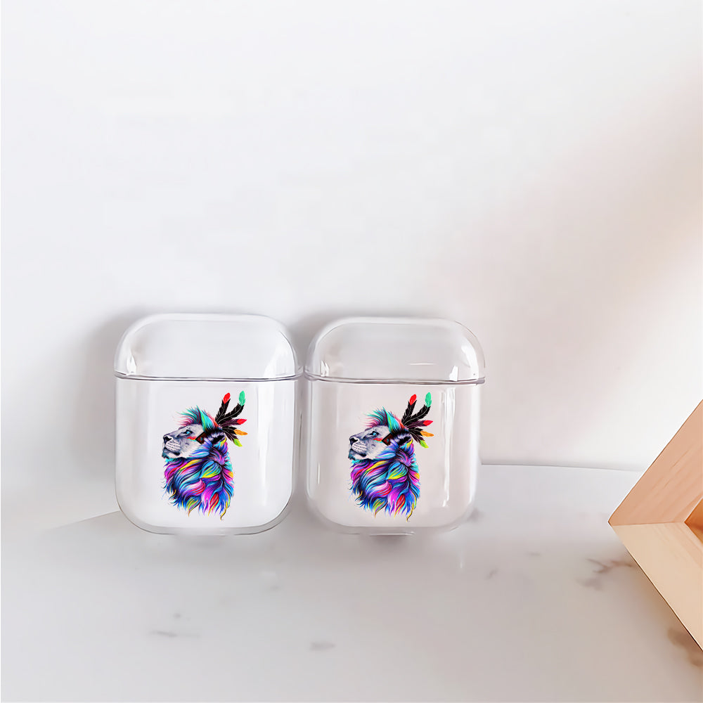 Lion Head Art Painting Protective Clear Case Cover For Apple Airpods