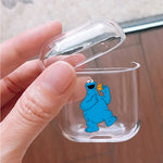 Sesame Street Elmo Blue Eating Biscuit Protective Clear Case Cover For Apple Airpods
