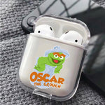 Sesame Street Oscar Protective Clear Case Cover For Apple Airpods