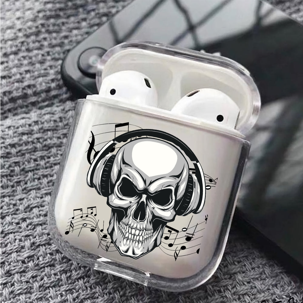 Skull Earphone Music Protective Clear Case Cover For Apple Airpods