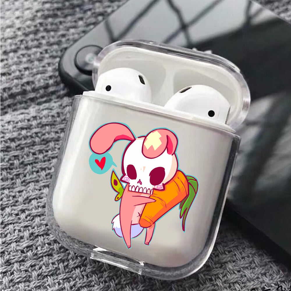 Skull Rabbit With Carrot Protective Clear Case Cover For Apple Airpods