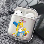 The Simpson Family Scramble for Donuts Protective Clear Case Cover For Apple Airpods