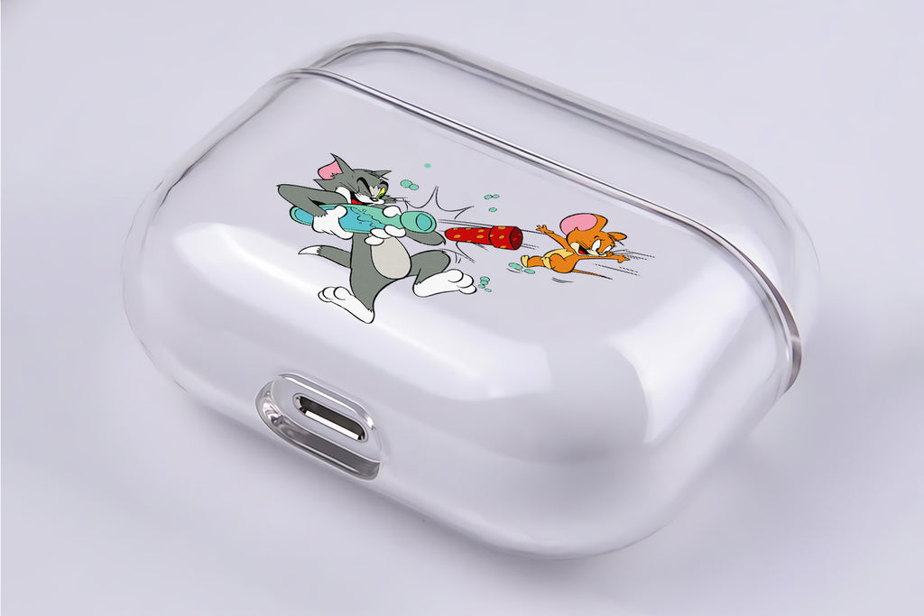Tom and Jerry Water Gun Protective Clear Case Cover For Apple AirPod Pro