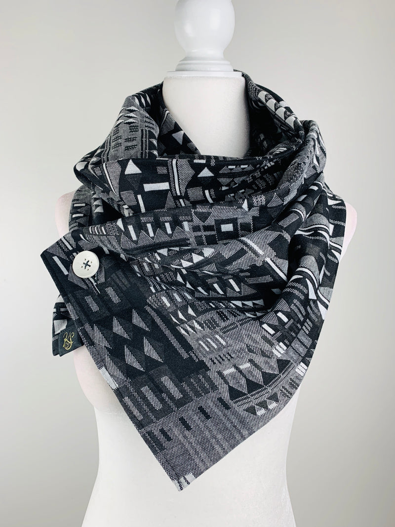 Wanda Black/Gray/White Unisex Versatile One Button Scarf