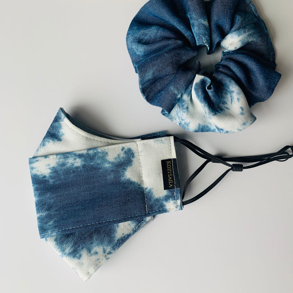 KozySaila Women's Scrunchie & Face Mask Set | New Accessories | Tie Dye Denim