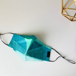 KozySaila | CLAUDIA Pop Up Mask | Turquoise Geo