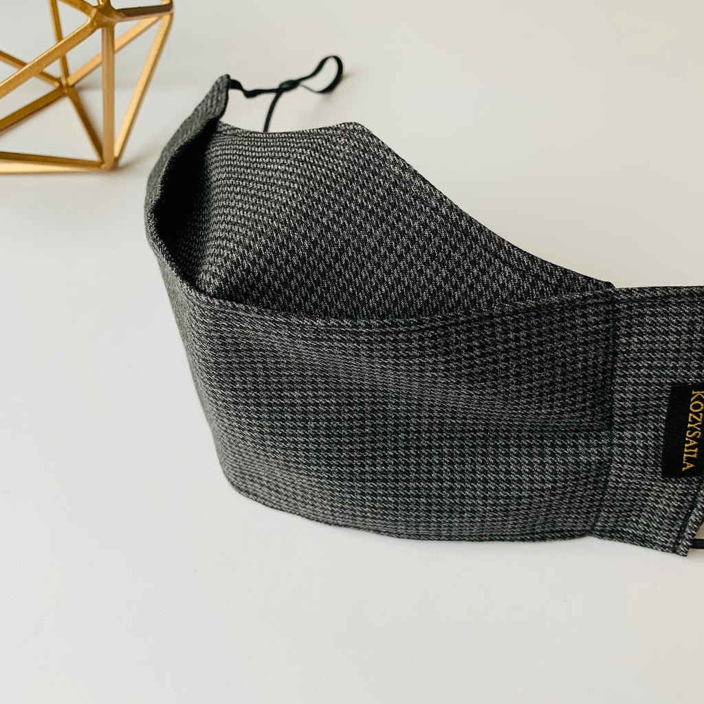 KozySaila Men | Pop Up Mask | Classic Houndstooth Gray & Black