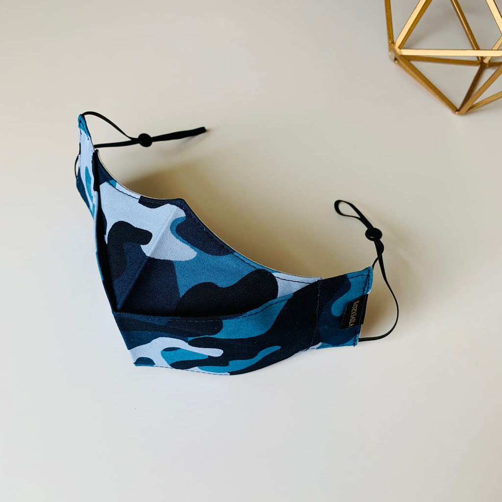 KozySaila | CLAUDIA Pop Up Mask | Blue Camo