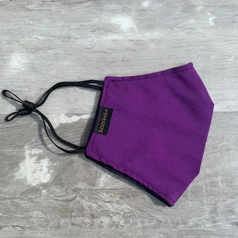 New! Reversible Fitted Face Mask | Purple & Black