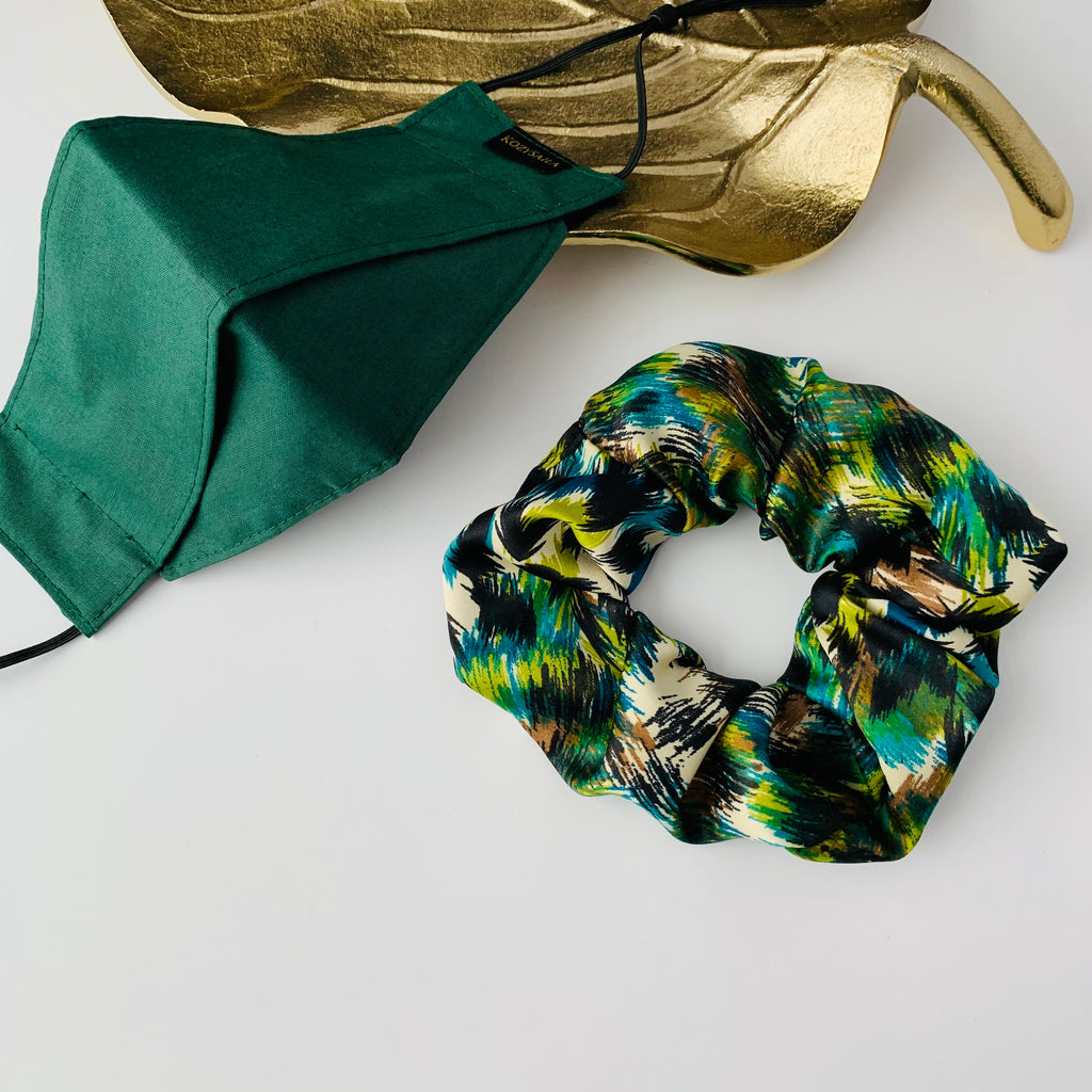 KozySaila Women's Scrunchie & Face Mask Set | New Accessories | Safari