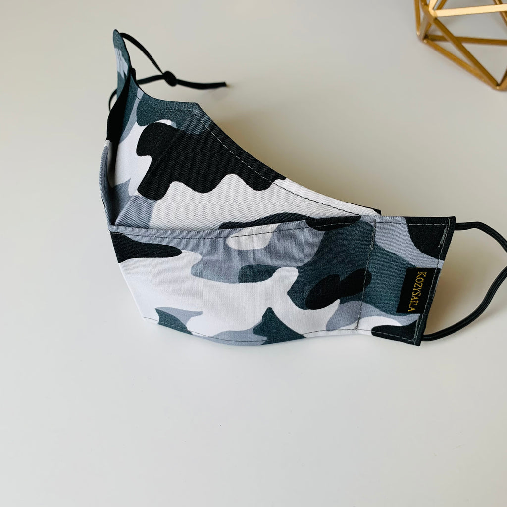 KozySaila | CLAUDIA Pop Up Mask | Gray Camo
