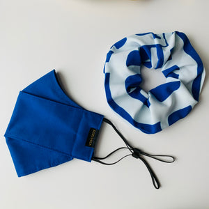 KozySaila Women's Scrunchie & Face Mask Set | New Accessories | Royal Blue Abstract