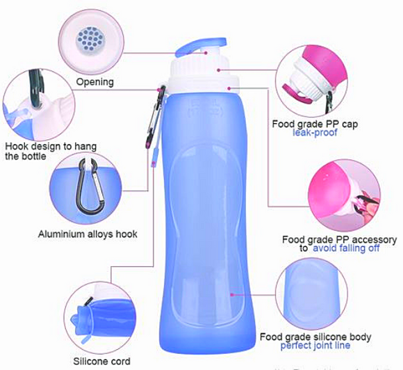 BPA FREE Reusable Silicone Foldable Water Bottle