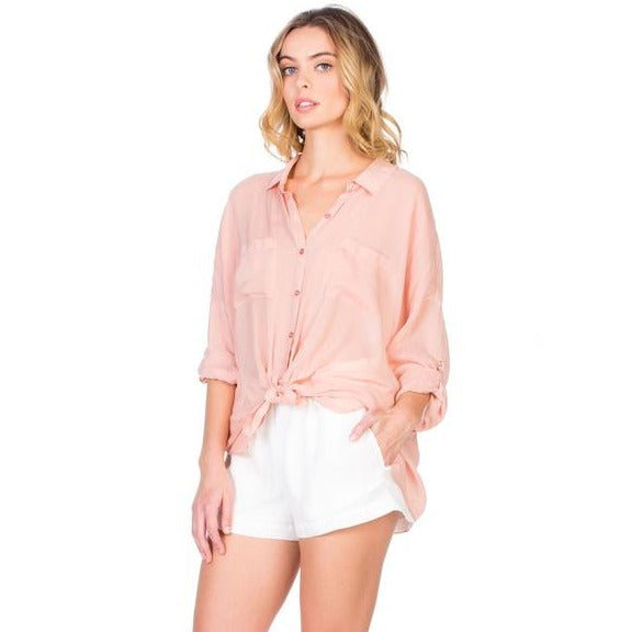 Maven West Cargo Pocket Top, Rose