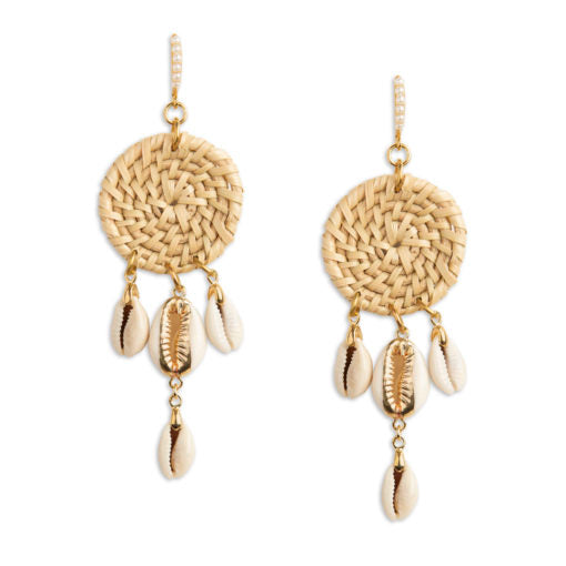 Neely Phelan Rattan & Shell Dangle Earring