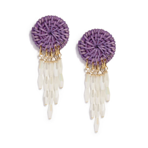 Neely Phelan Purple Rattan & Crystal Drop Earring