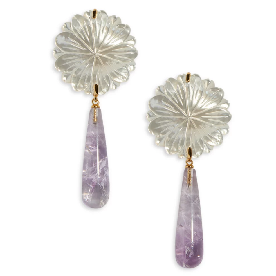 Lizzie Fortunato Lilac Bloom Earrings