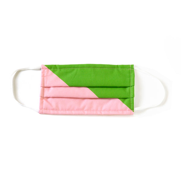 PINK AND GREEN COLOR BLOCK MASK