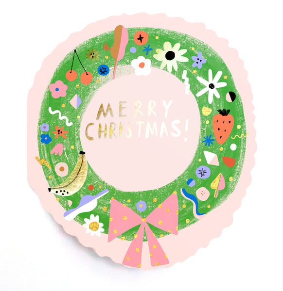 WREATH - Shaped Christmas Card