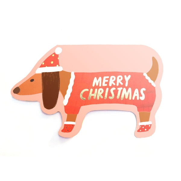 DACHSHUND - Shaped Christmas Card