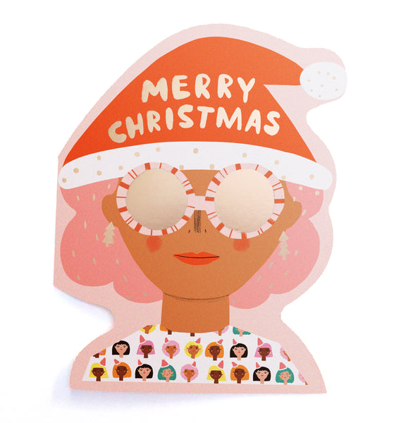 XMAS PARTY GIRL - Shaped Christmas Card