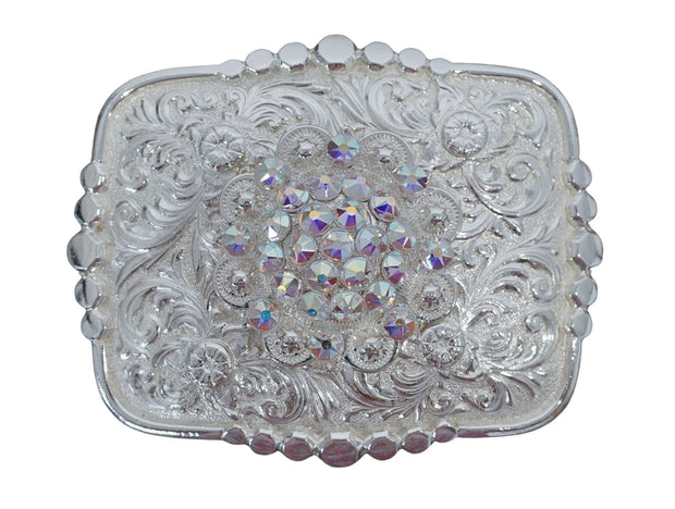 Adapters Bright Silver Belt Buckle with AB European Crystal Concho BSBTADPT1