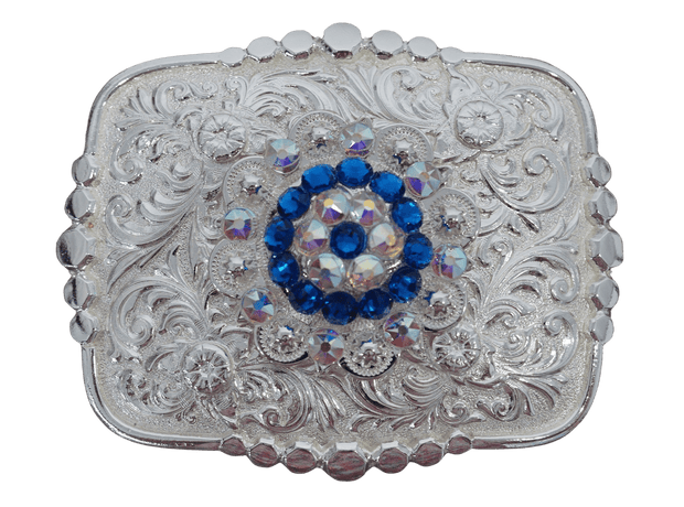 Adapters Bright Silver Belt Buckle with Capri & AB European Crystal Concho BSBTADPT2