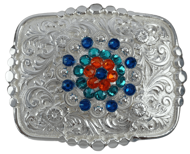 Adapters Bright Silver Belt Buckle with Capri, Fire Opal & Teal European Crystal Concho BSBTADPT3