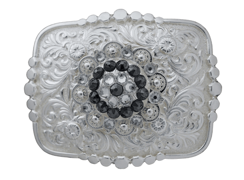 Adapters Bright Silver Belt Buckle with Jet & Clear European Crystal Concho BSBTADPT4