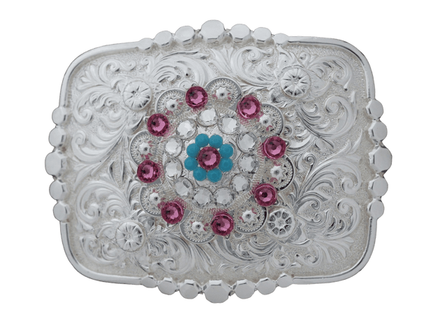 Adapters Bright Silver Belt Buckle With Pink, Turquoise & Clear Concho BSBTADPT6