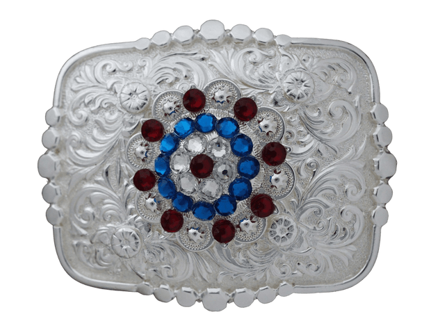 Adapters Bright Silver Belt Buckle with Red, White & Blue European Crystal Concho BSBTADPT7