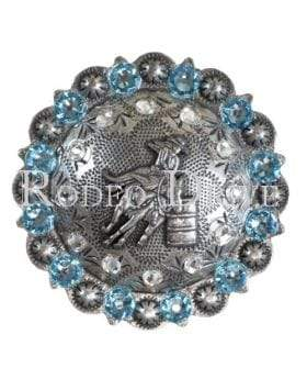 Antique Silver Aqua & Clear Antique Silver Barrel Racer European Crystal Concho ASBRAQCL