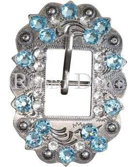 Antique Silver Aqua & Clear Antique Silver European Crystal Cart Buckle ASCTAQCL