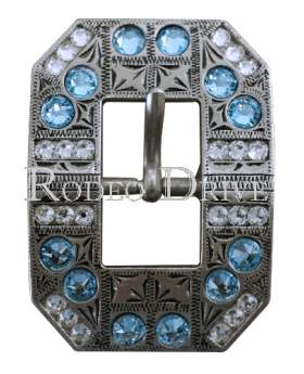Antique Silver Aqua & Clear Antique Silver European Crystal Square Cart Buckle ASSQAQCL