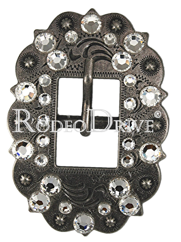 Antique Silver Clear Antique Silver European Crystal Cart Buckle ASCTCL