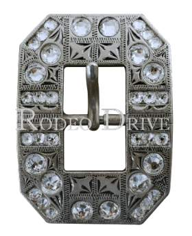 Antique Silver Clear Antique Silver European Crystal Square Cart Buckle ASSQCL