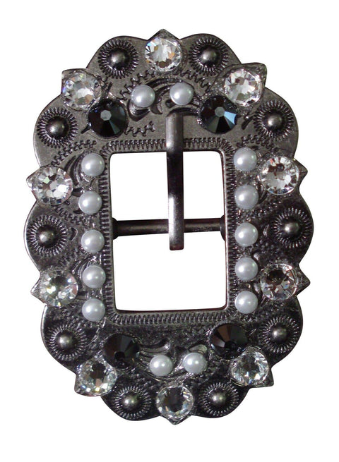 Antique Silver Jet, Pearl & Clear Antique Silver European Crystal Cart Buckle ASCTJTPRCL